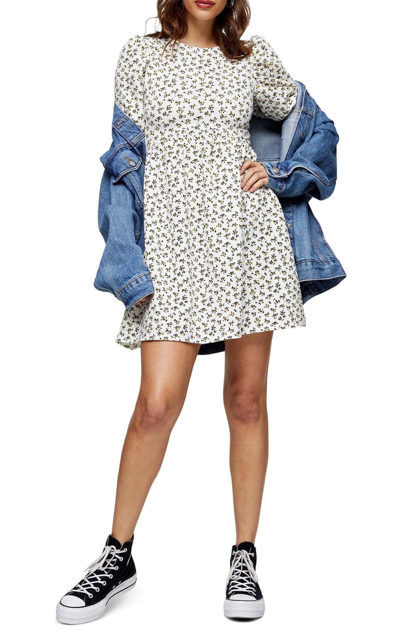TOPSHOP Ditsy Floral Puff Sleeve Babydoll Mini Dress