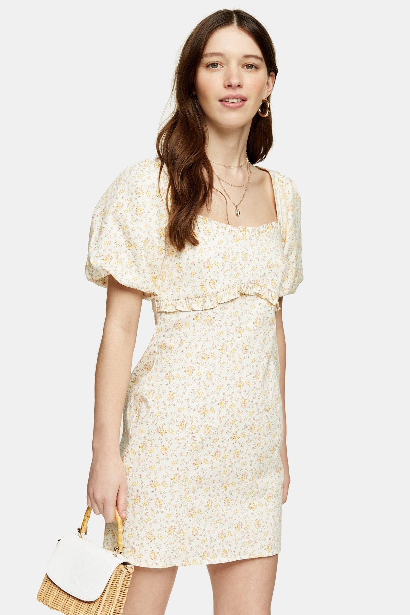 TOPSHOP Ecru Floral Poplin Tea Dress