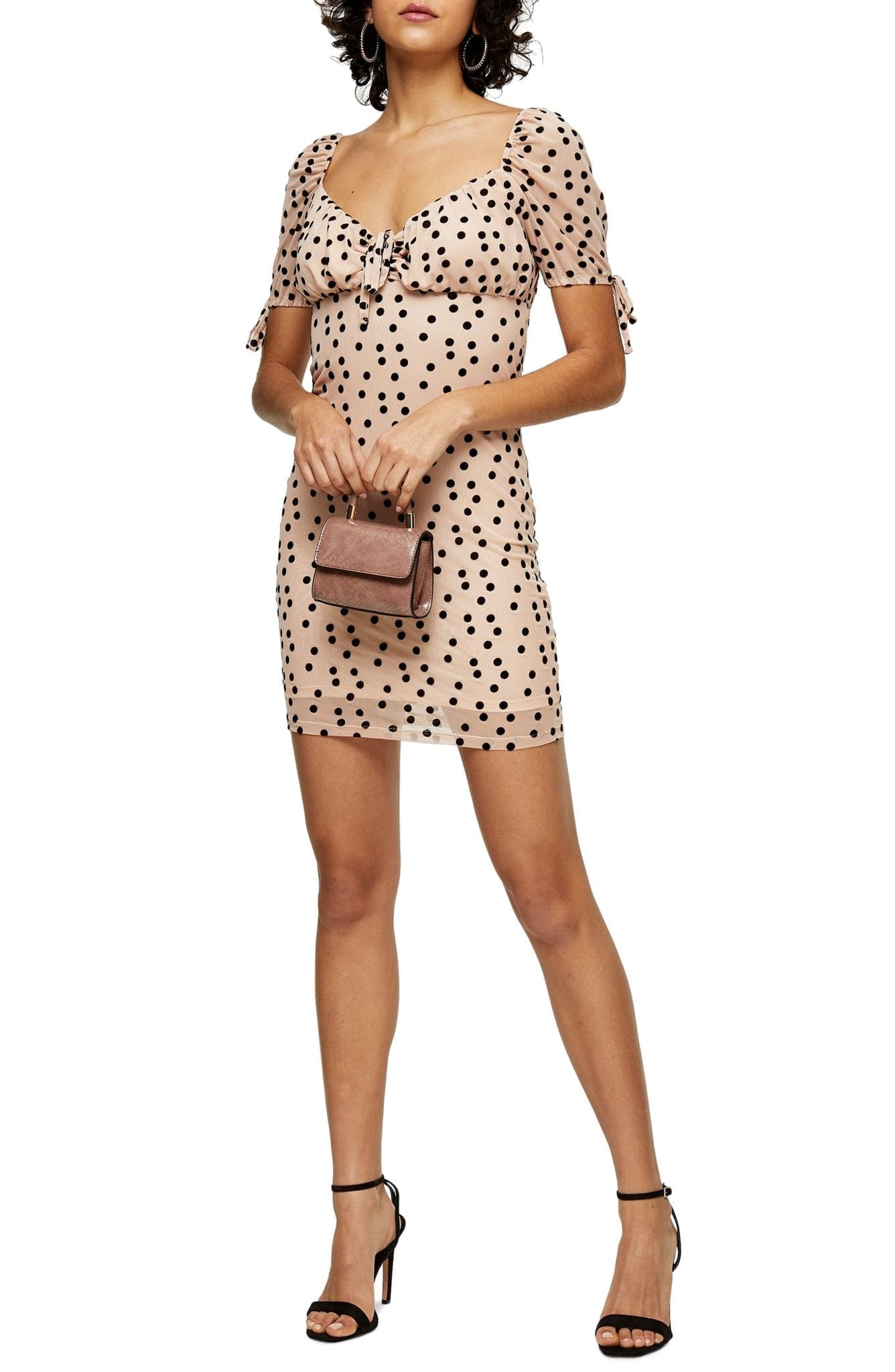 TOPSHOP Flocked Dot Tie Cuff Mesh Mini Dress