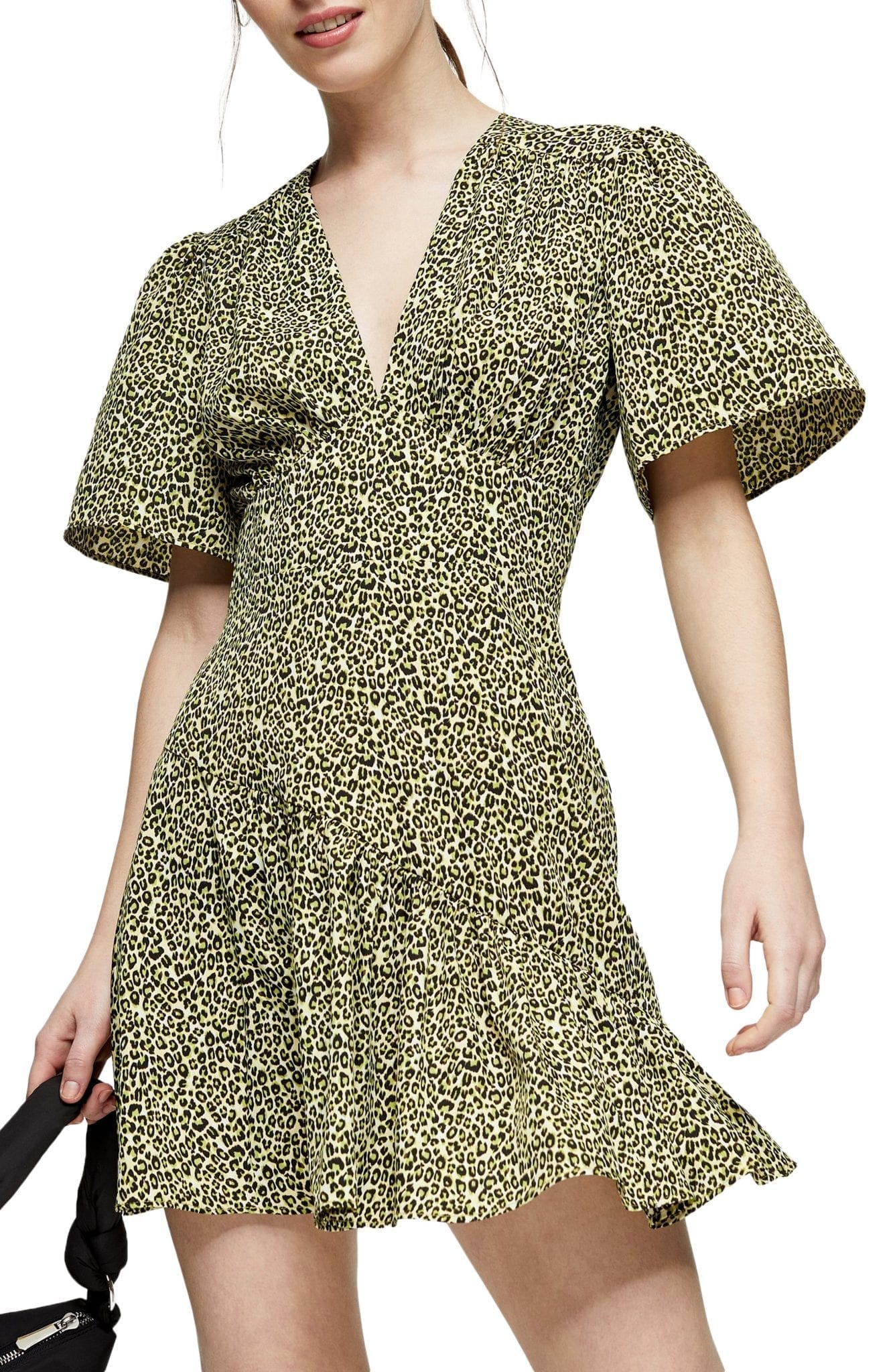 TOPSHOP Flutter Sleeve Leopard Print Mini Dress