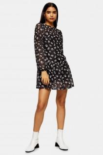 TOPSHOP TALL Dot Floral Print Mesh Mini Dress