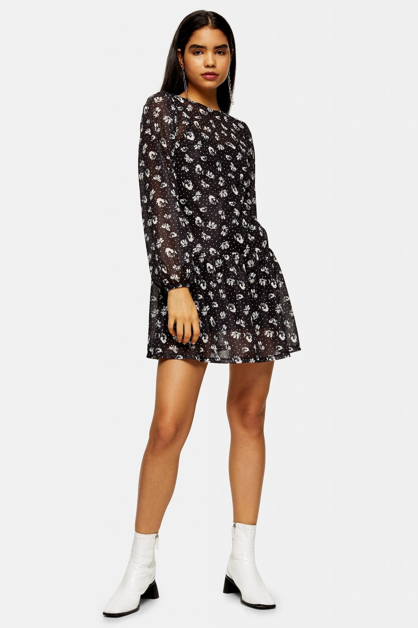 TOPSHOP TALL Dot Floral Print Mesh Mini Dress