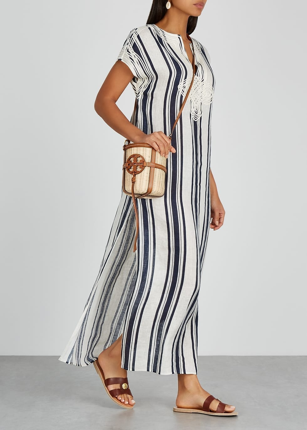 TORY BURCH Striped Linen Maxi Dress