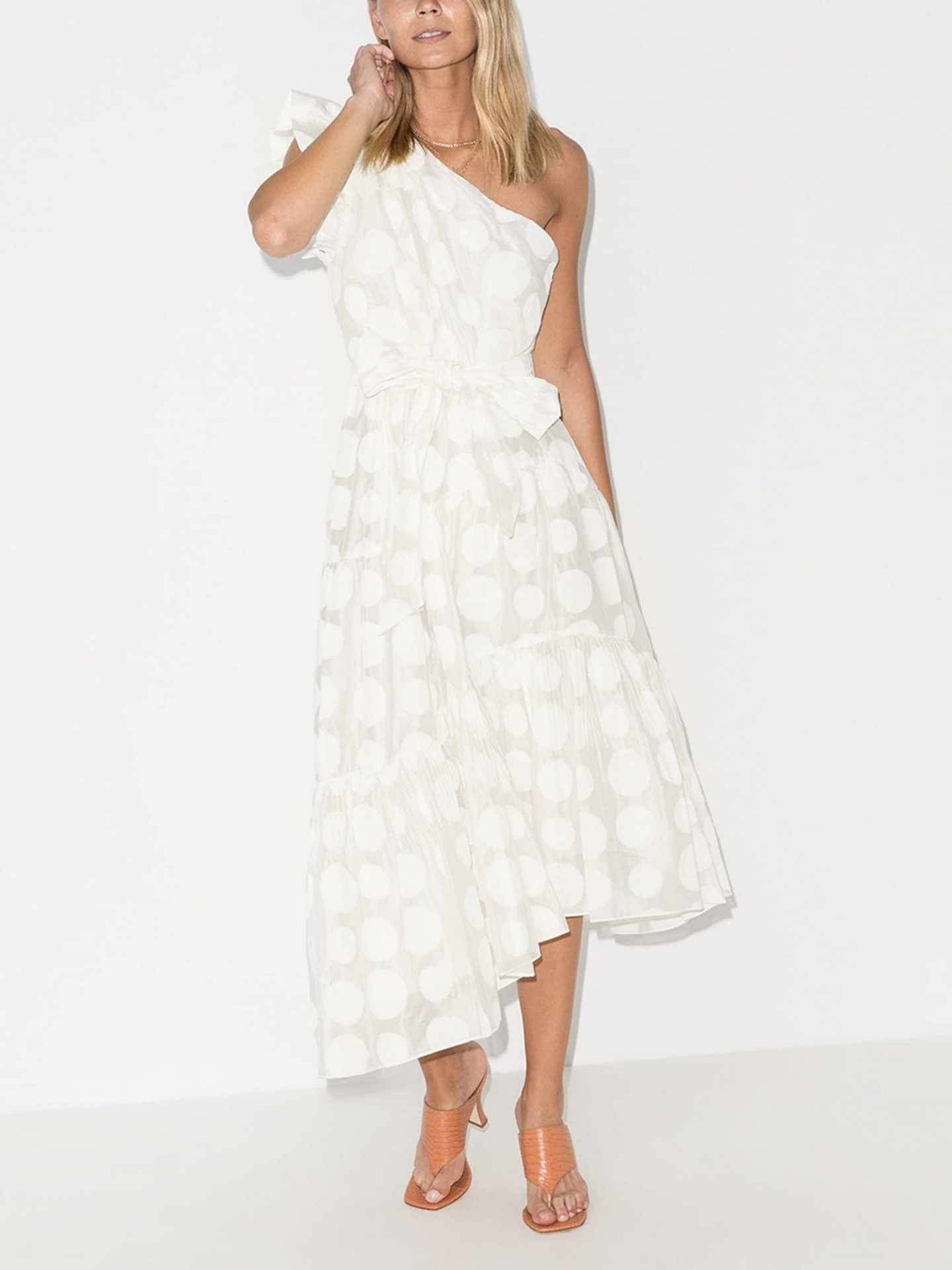 ULLA JOHNSON Arianne One Shoulder Belted Dress