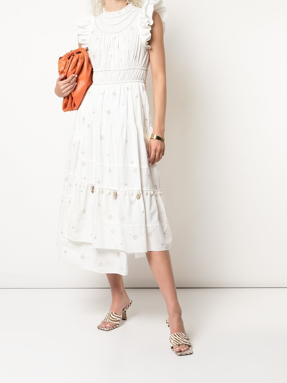 ULLA JOHNSON Zemora Shell Embellished Midi Dress