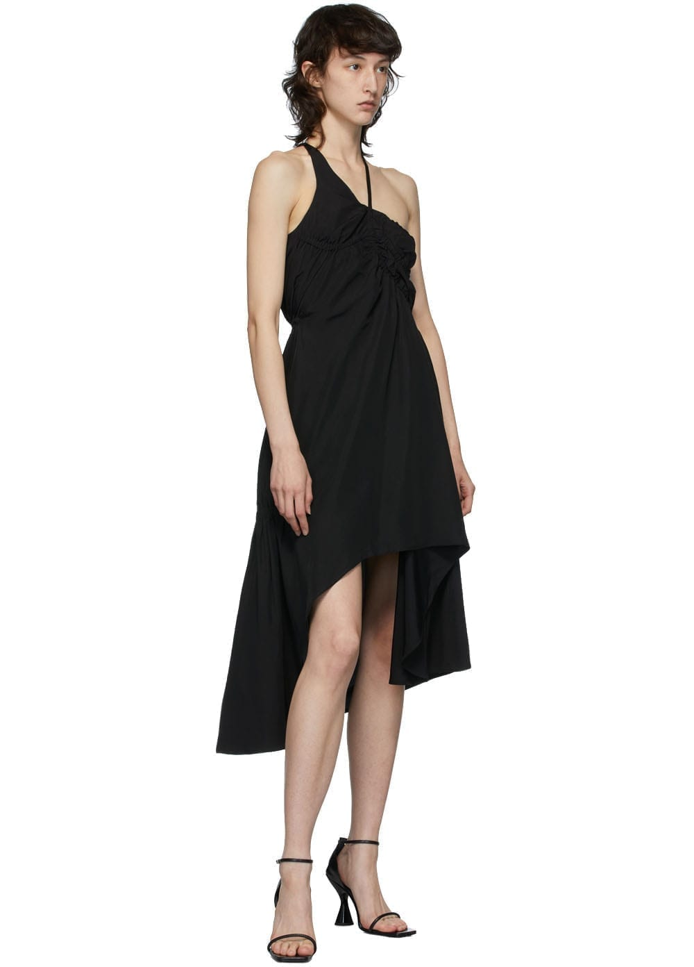 VEJAS Black Elasticated Liquid Slip Dress