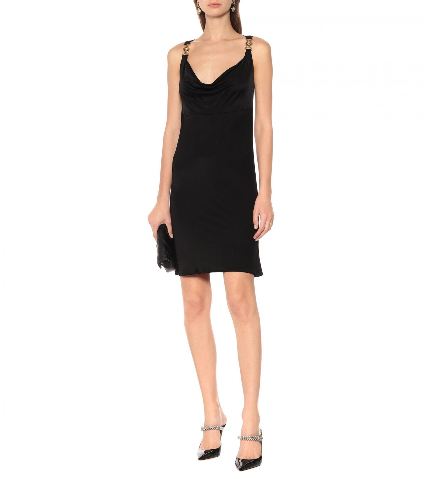 VERSACE Embellished Jersey Mini Dress