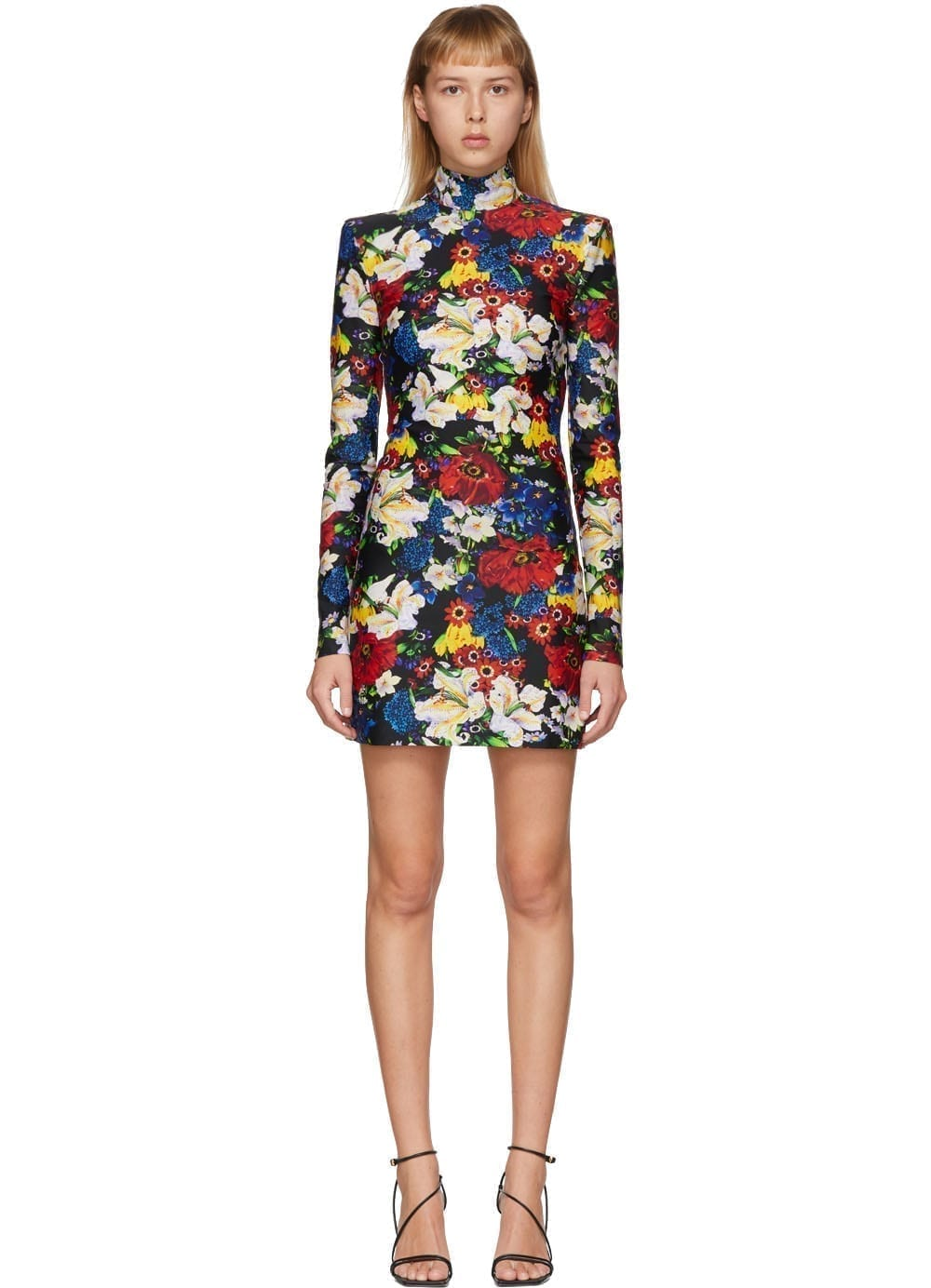 VERSACE Ssense Exclusive Multicolor Floral Turtleneck Long Sleeve Dress