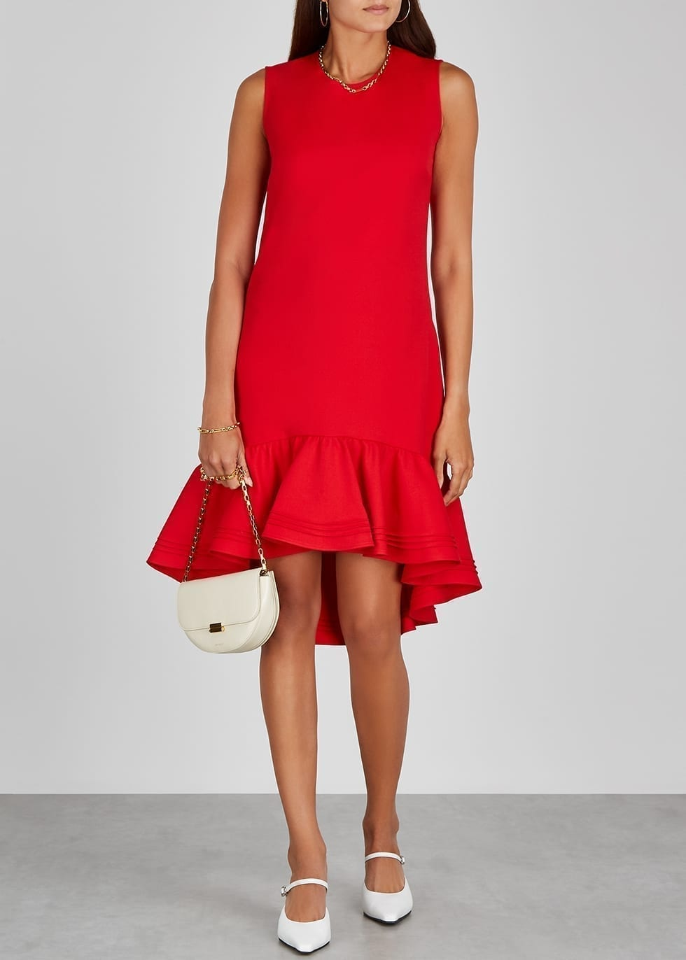 VICTORIA BECKHAM Red Flared-hem Shift Dress