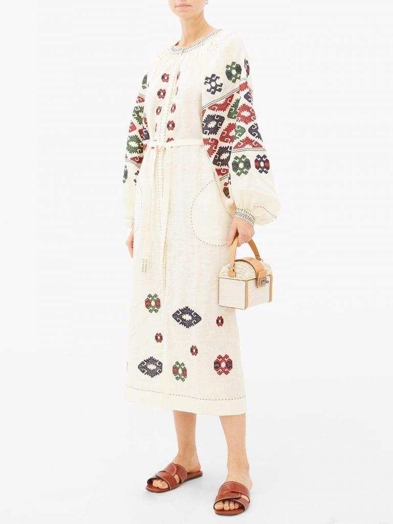 VITA KIN Bodrum Embroidered Linen Dress