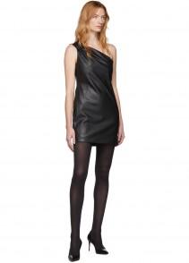 WE11DONE Black Faux-leather One Shoulder Dress