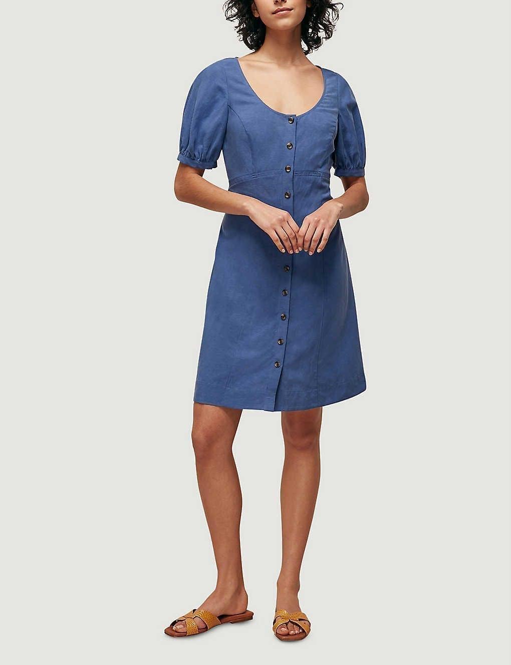WHISTLES Tara Scoop-neck Linen-blend Mini Dress