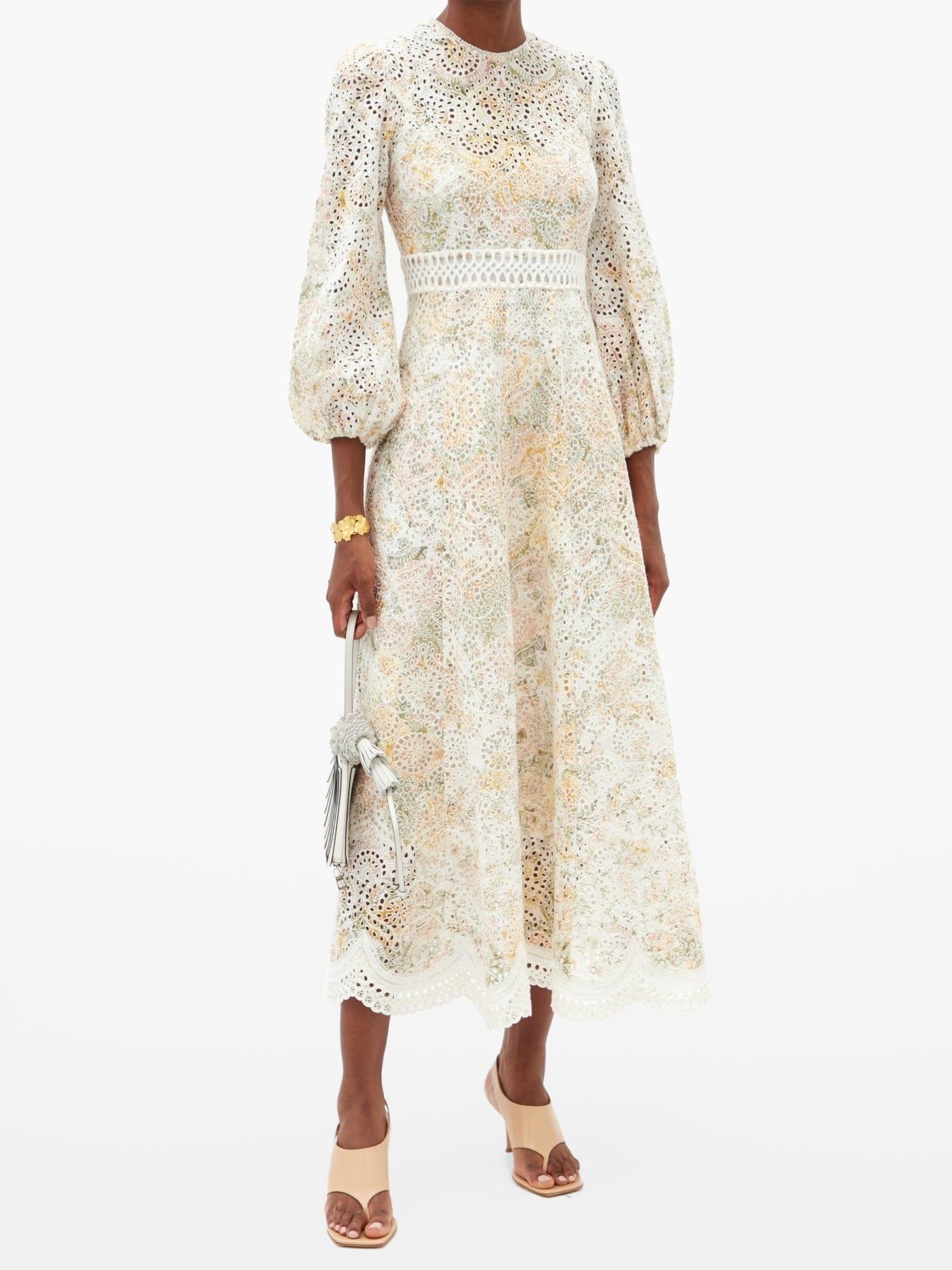 ZIMMERMANN Amelie Floral-print Broderie-anglaise Linen Dress