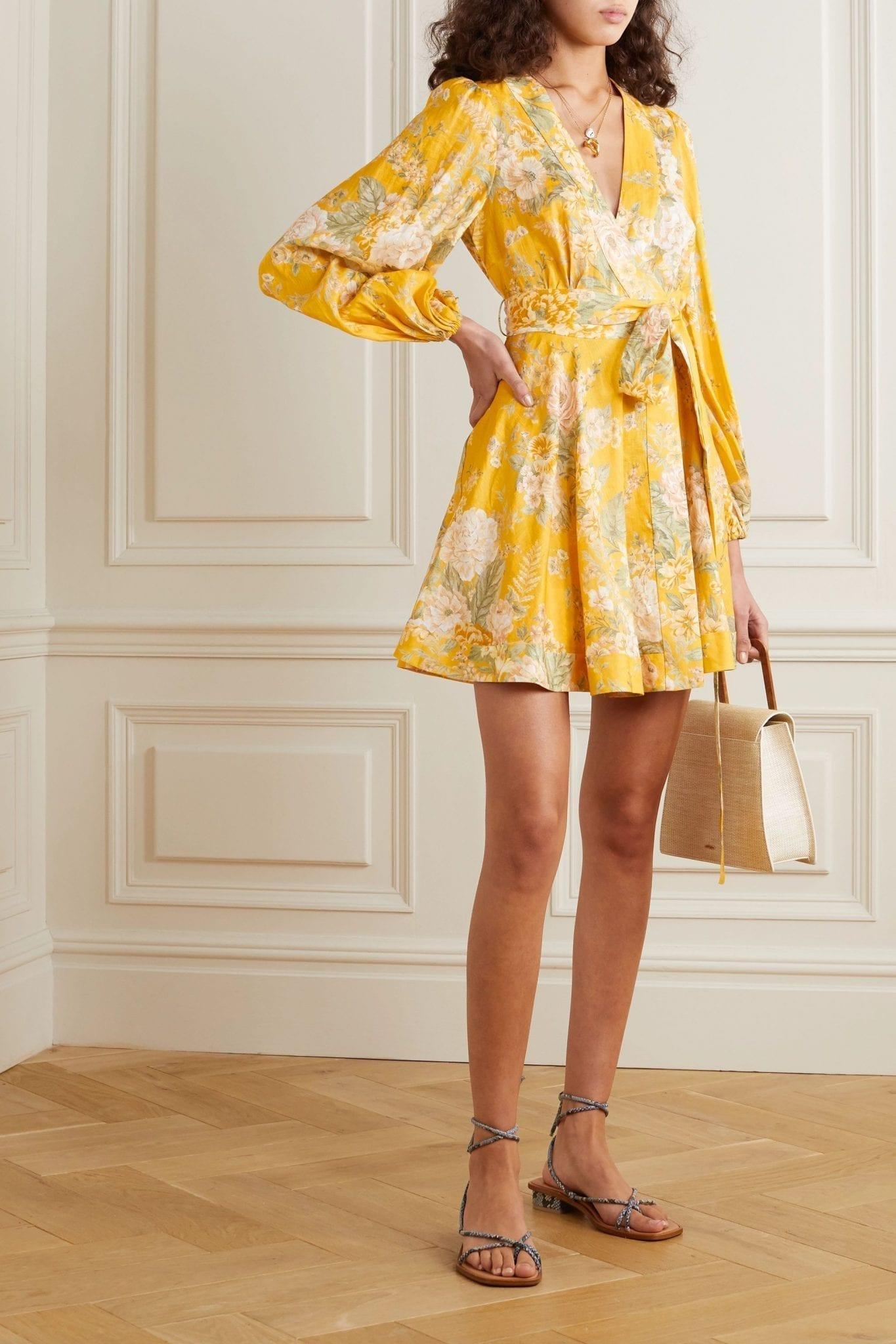 ZIMMERMANN Amelie Floral-print Linen Mini Wrap Dress