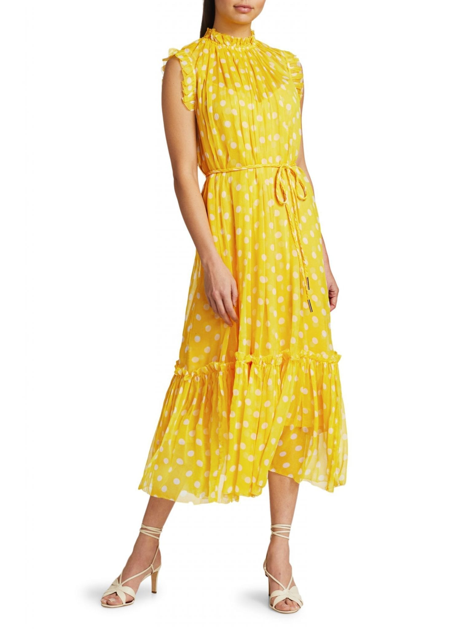 ZIMMERMANN Brightside Frill Polka Dot Midi Dress