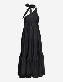 ZIMMERMANN Empire Tie-Neck One-Shoulder Linen Maxi Dress