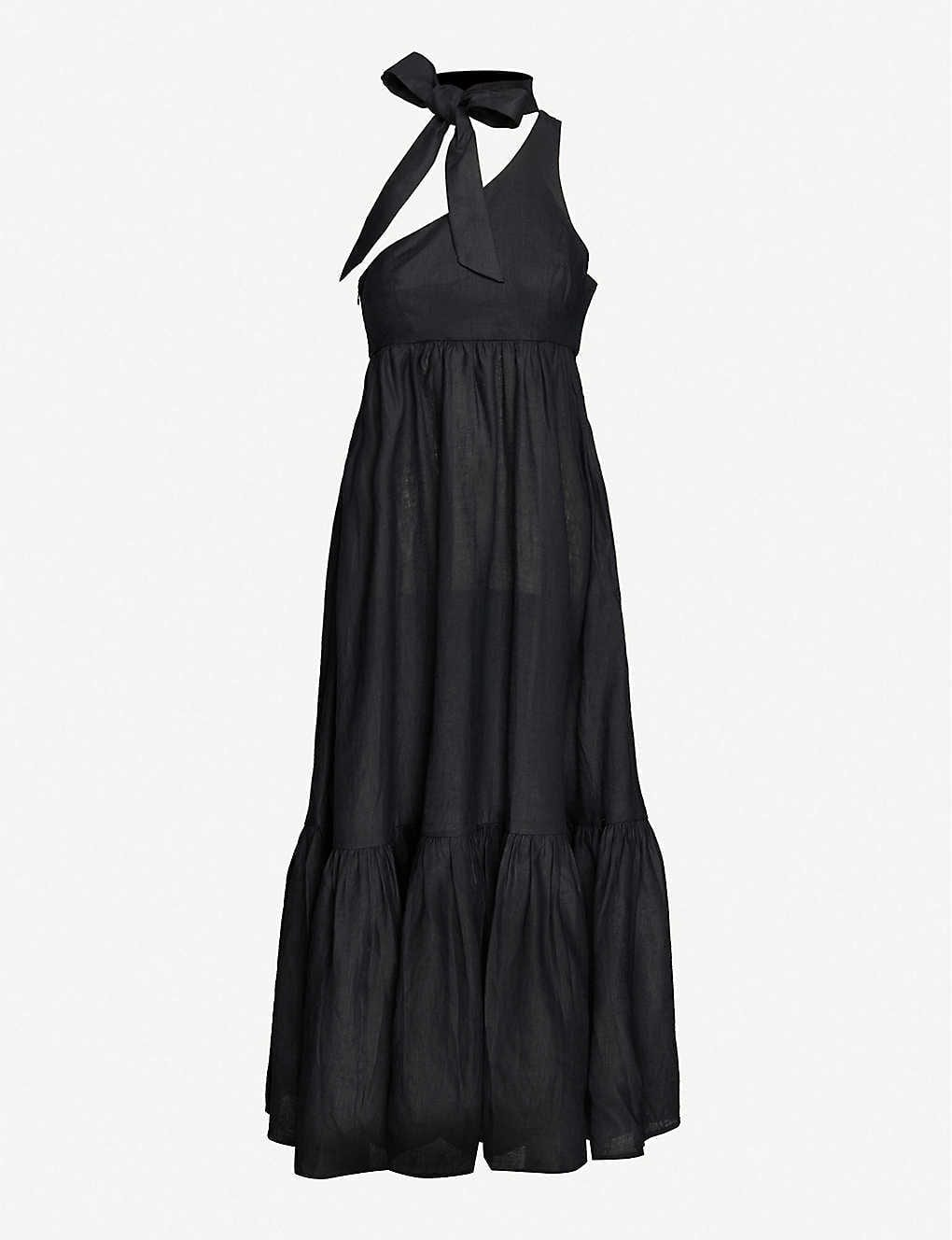 ZIMMERMANN Empire Tie-Neck One-Shoulder Linen Maxi Dress