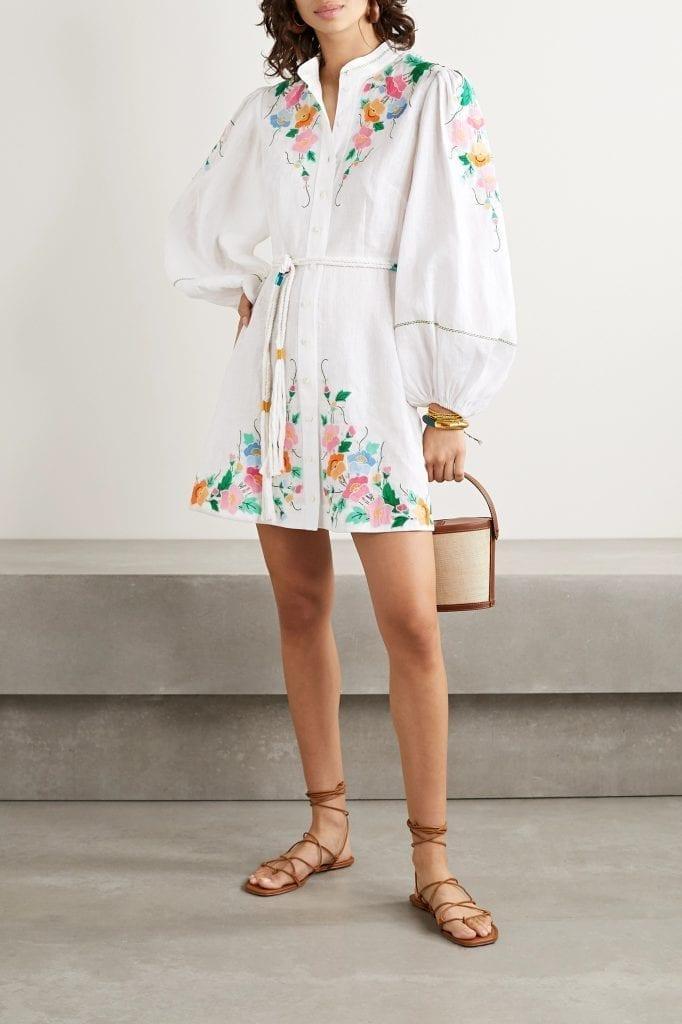 ZIMMERMANN Fiesta Belted Embroidered Linen Mini Dress