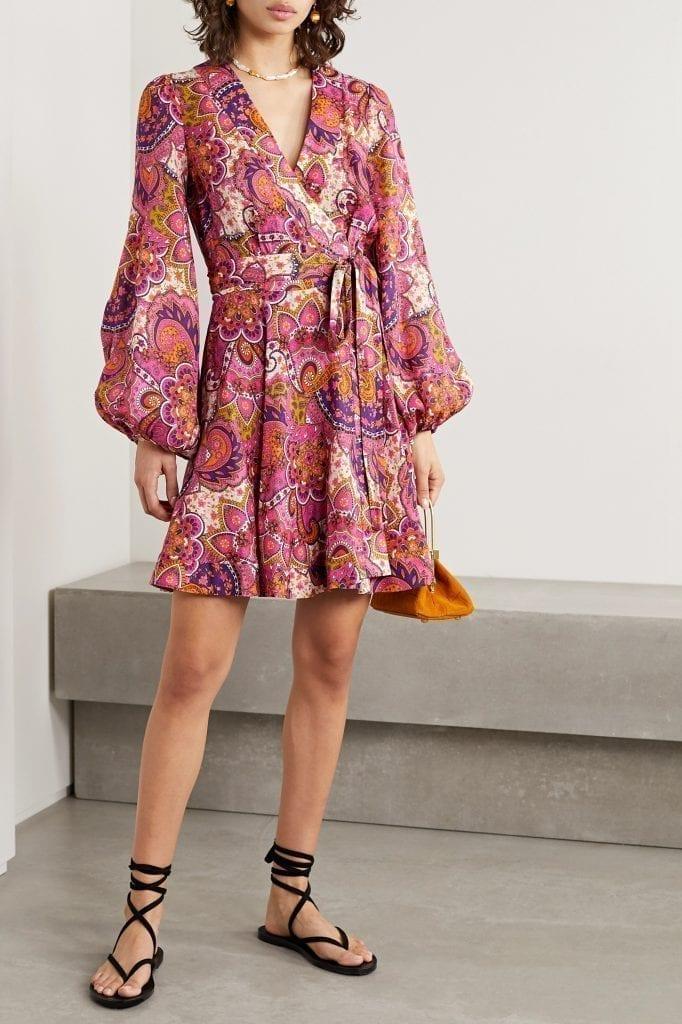 ZIMMERMANN Fiesta Paisley-print Linen Wrap Mini Dress