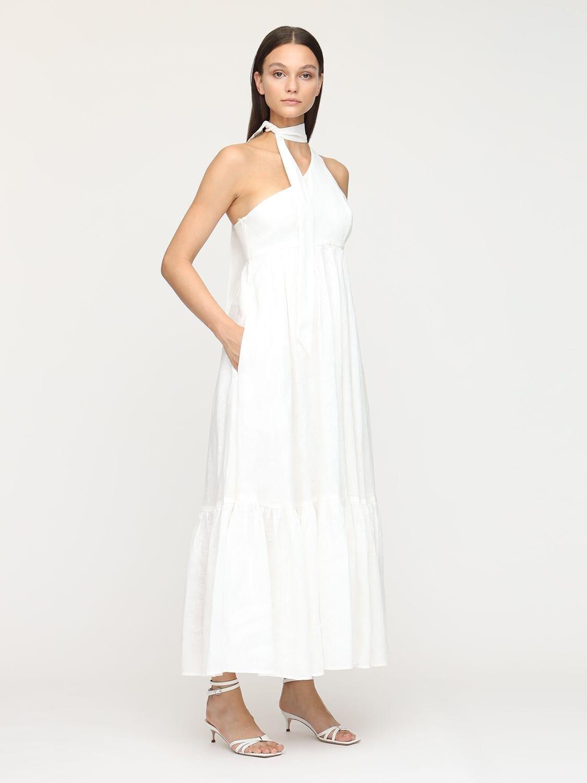 ZIMMERMANN Juliette One Shoulder Linen Maxi Dress