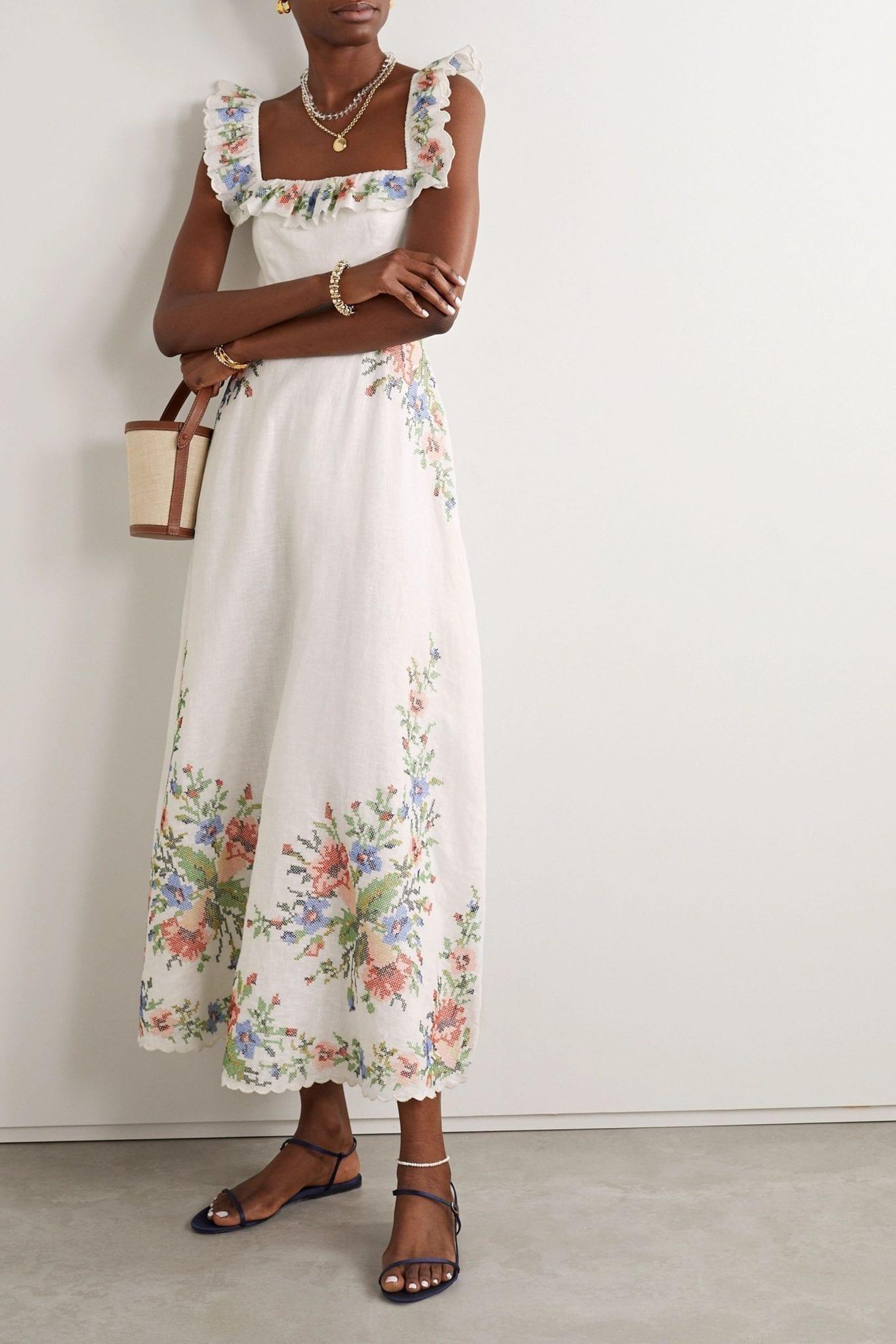 ZIMMERMANN Juliette Scalloped Embroidered Linen Midi Dress