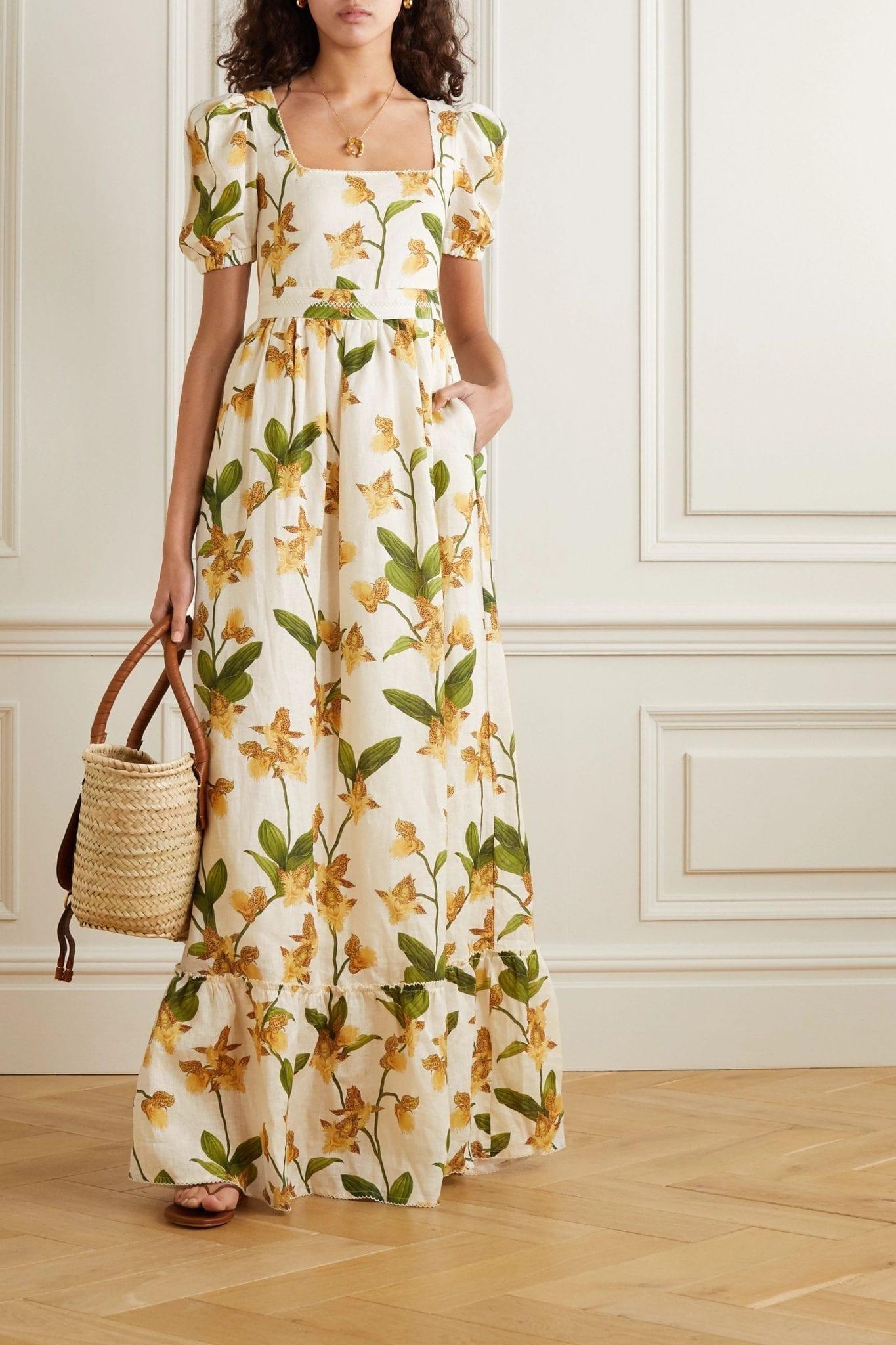 AGUA BY AGUA BENDITA Pomelo Floral-print Linen Maxi Dress
