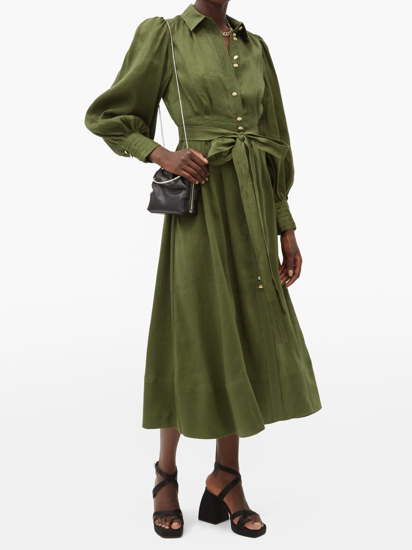 AJE Oxidised Linen-blend Shirt Dress