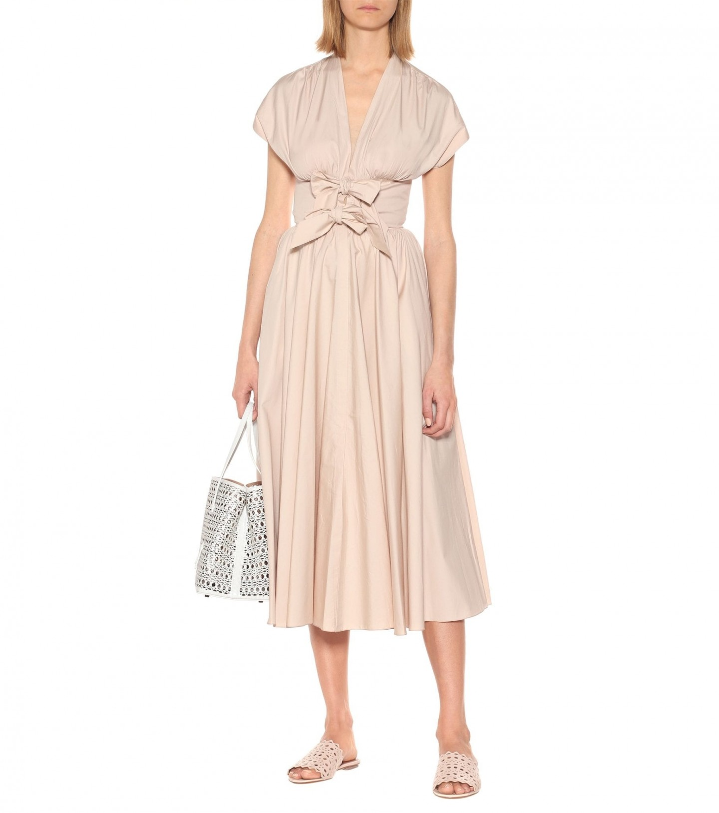 ALAÏA Cotton-poplin Midi Dress