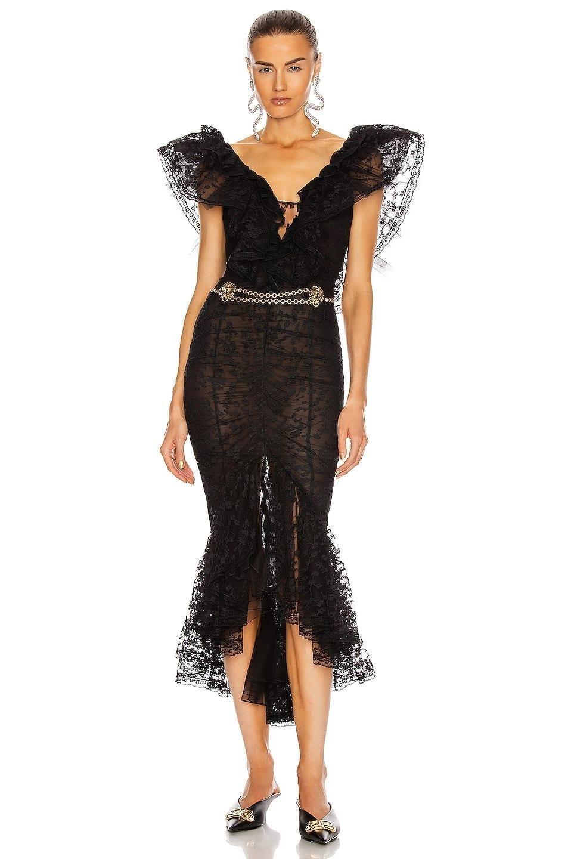 ALESSANDRA RICH Lace V Neck Dress