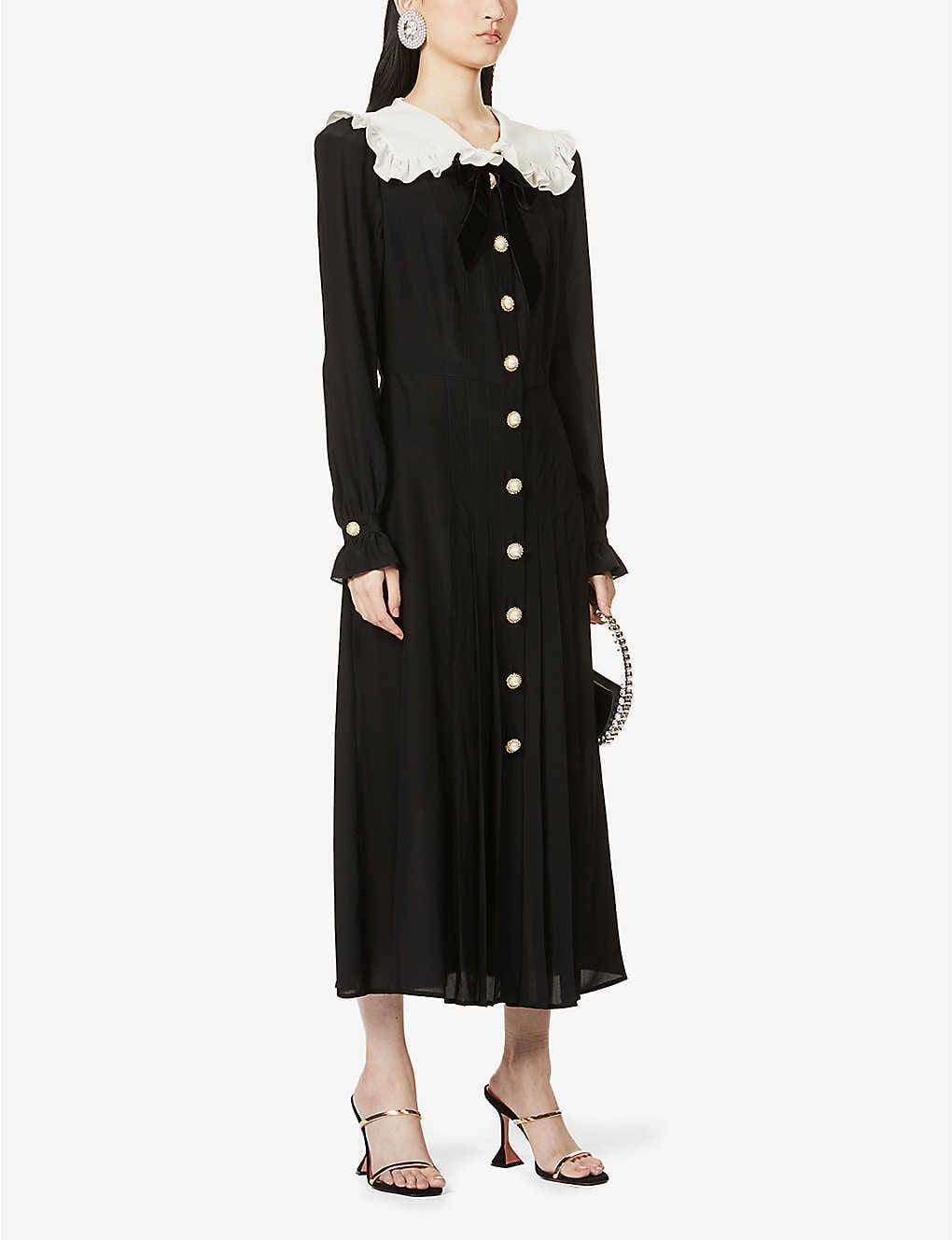 ALESSANDRA RICH Ruffled Long-sleeved Silk Dress