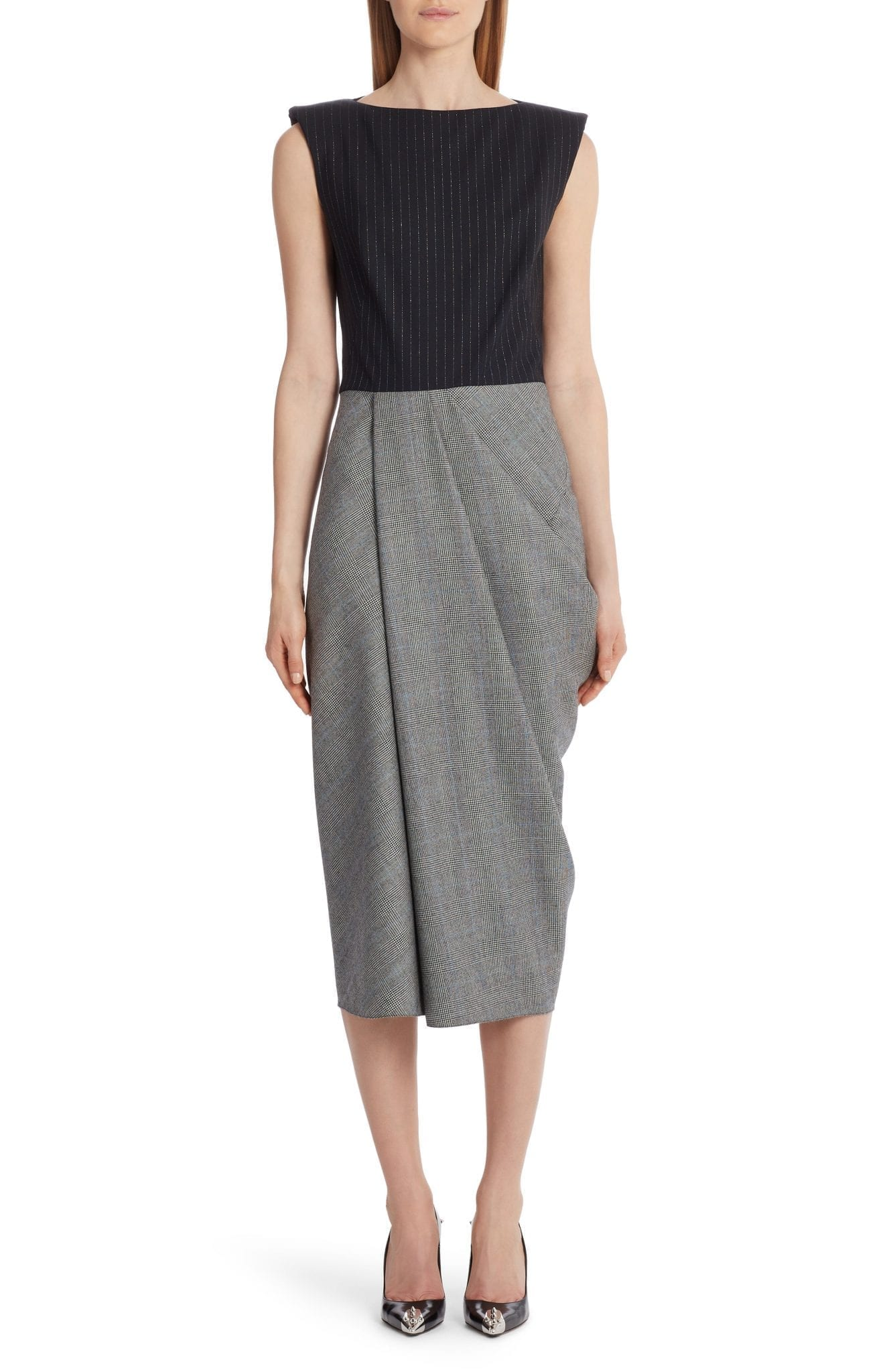 ALEXANDER MCQUEEN Pinstripe & Glen Plaid Wool Midi Dress