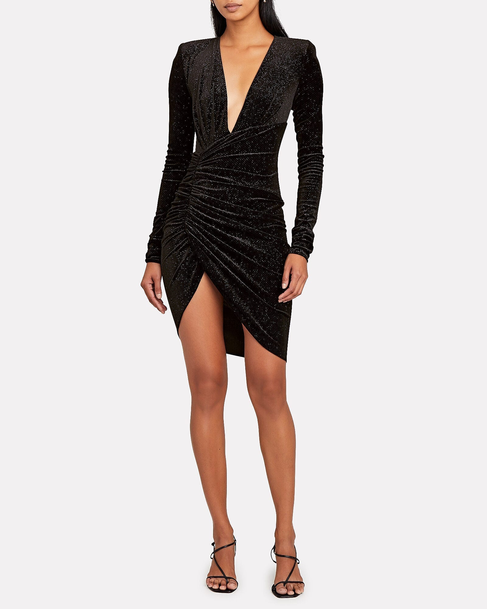 ALEXANDRE VAUTHIER Glitter Velvet Ruched Mini Dress