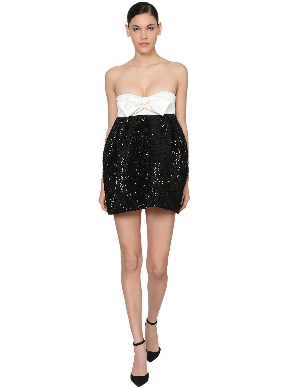 ALEXANDRE VAUTHIER Sequined Velvet & Satin Mini Dress