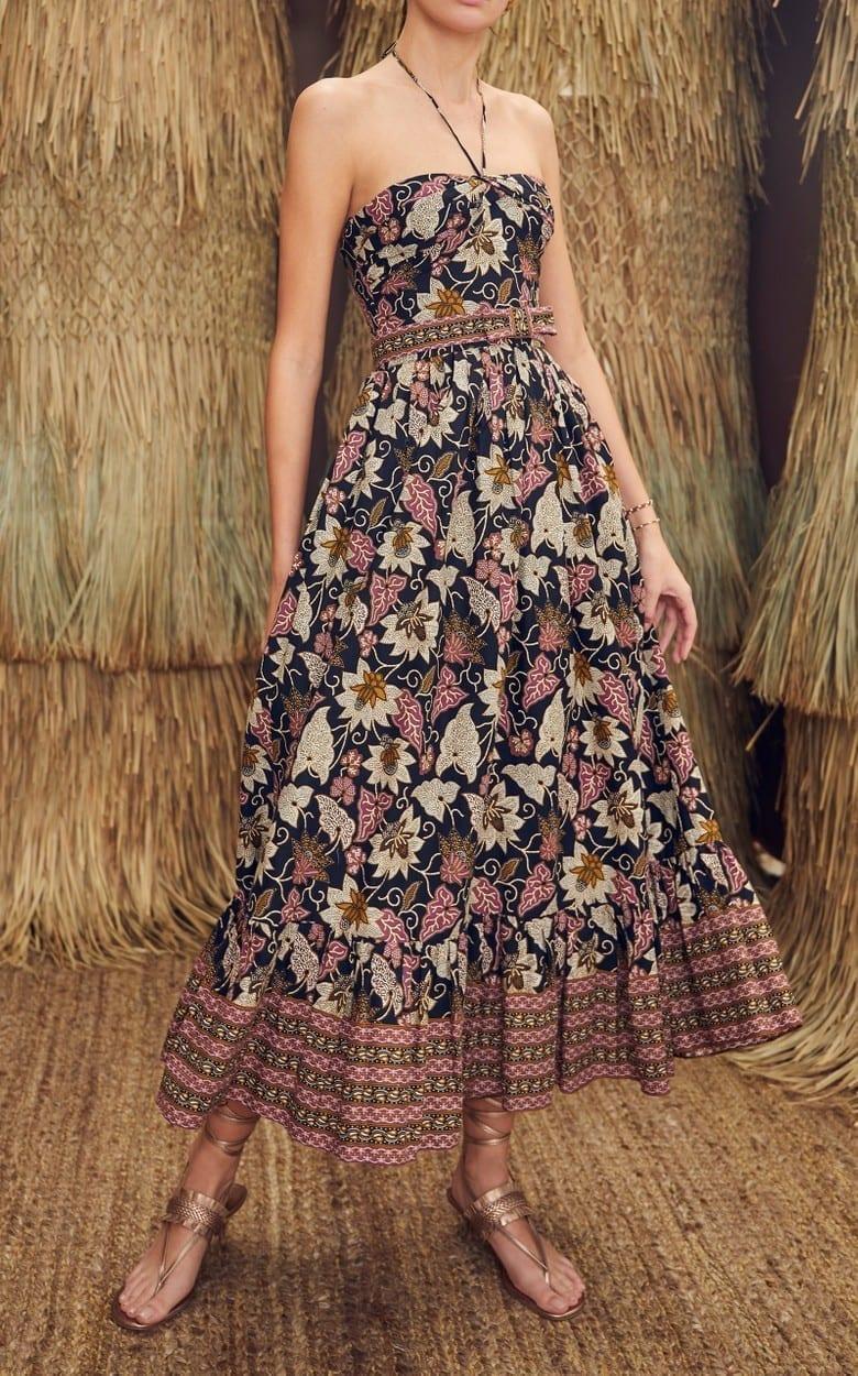 ALEXIS Aniessa Printed Cotton Halterneck Dress