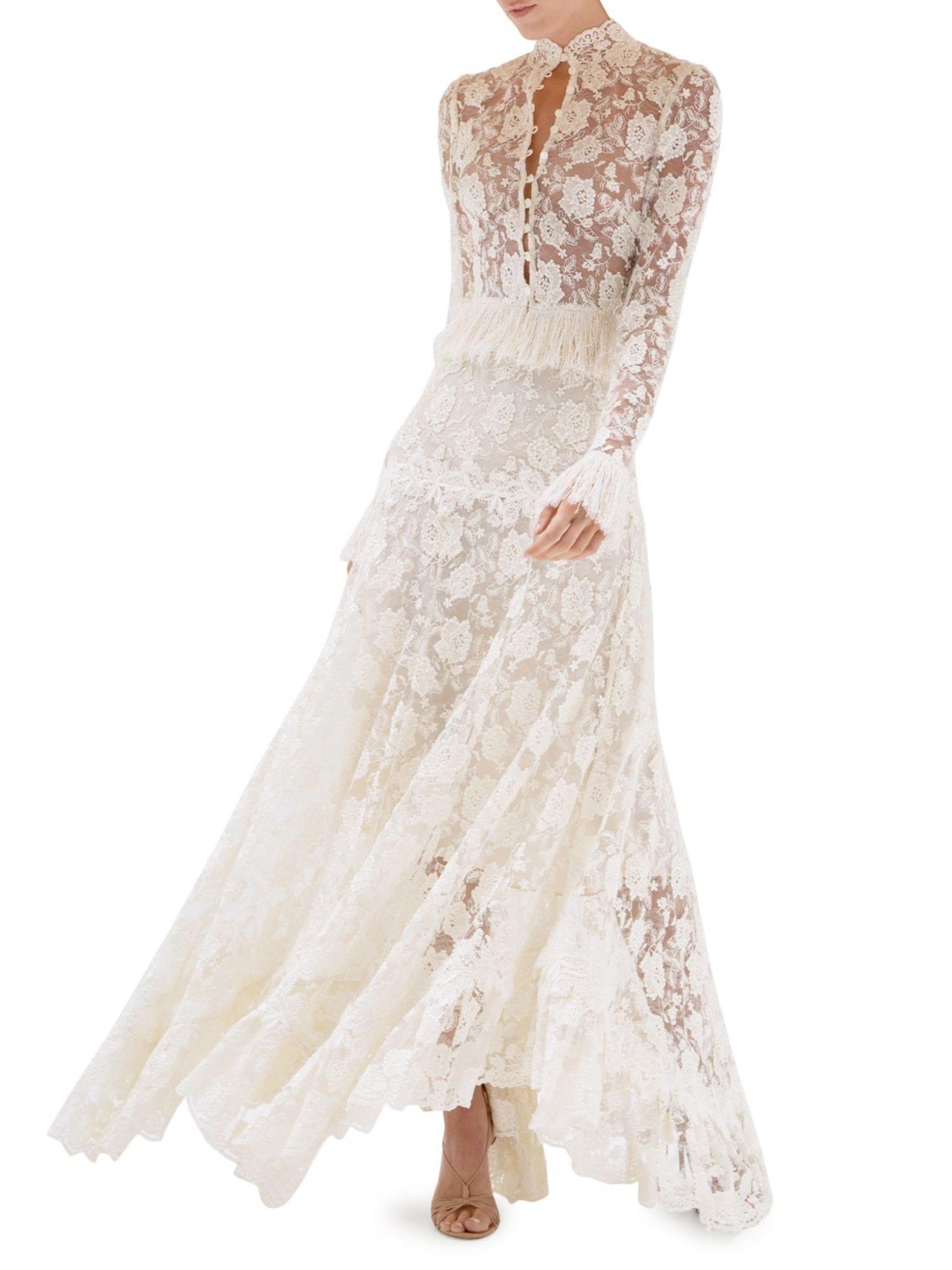 ALEXIS Percival Fringe Trim Lace Top Dress