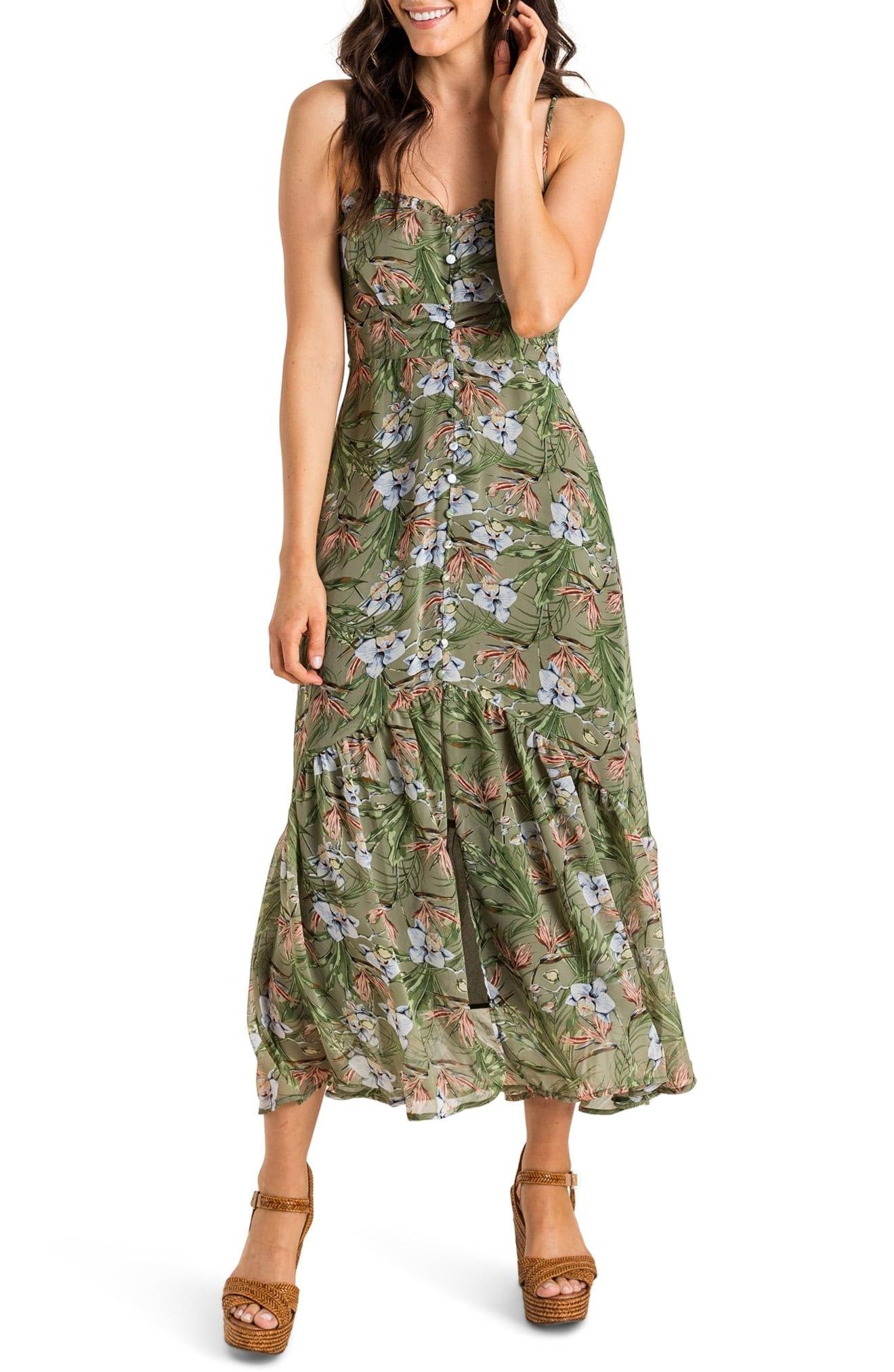ALL IN FAVOR Sleeveless Button Detail Maxi Dress
