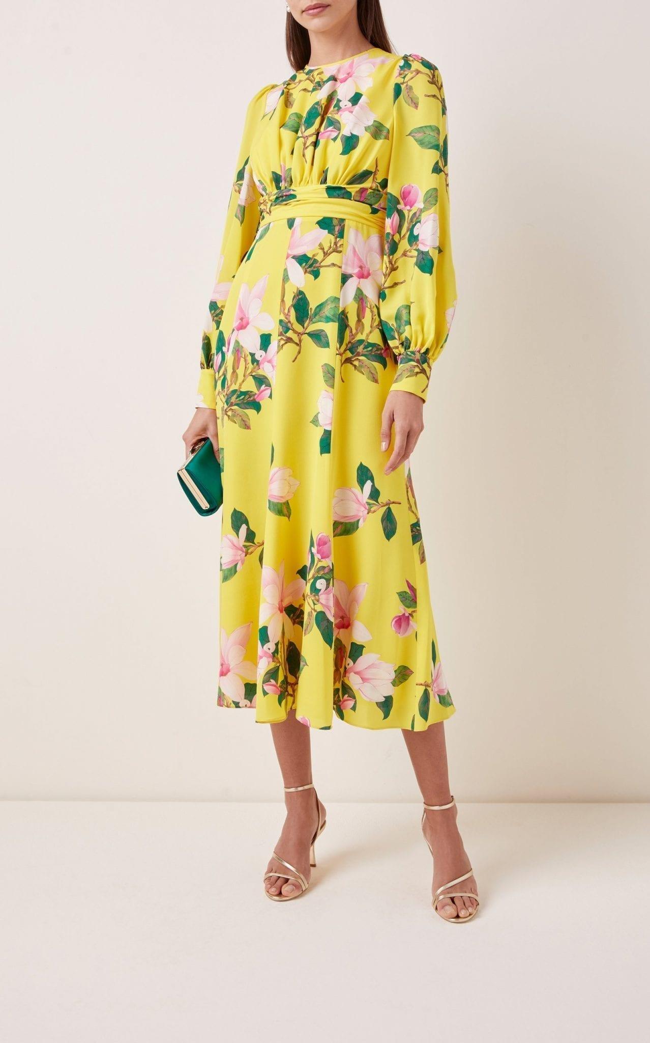 ANDREW GN Floral Silk Midi Dress