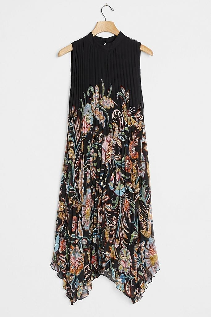 ANTHROPOLOGIE Cecily Pleated Midi Dress