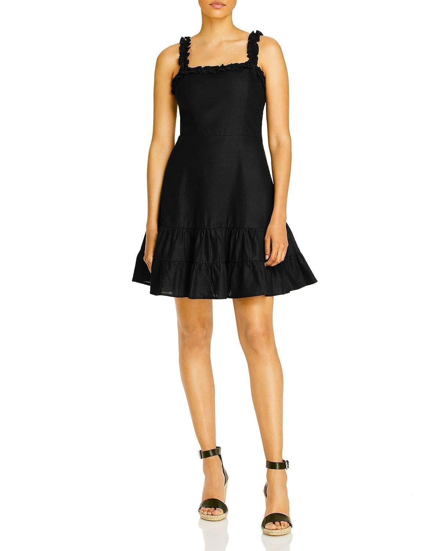 AQUA Ruffled Strap Mini Dress