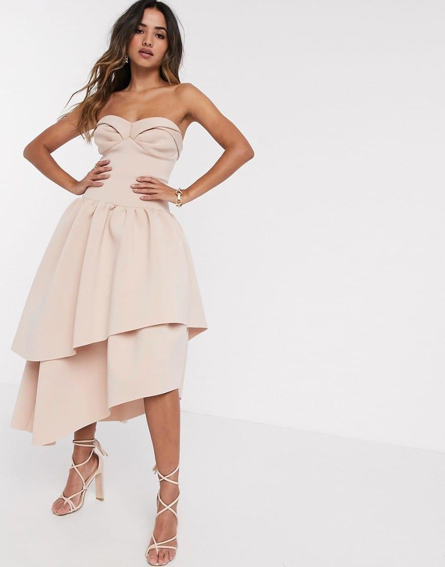 ASOS DESIGN Bandeau Cup Detail Midi Prom Dress