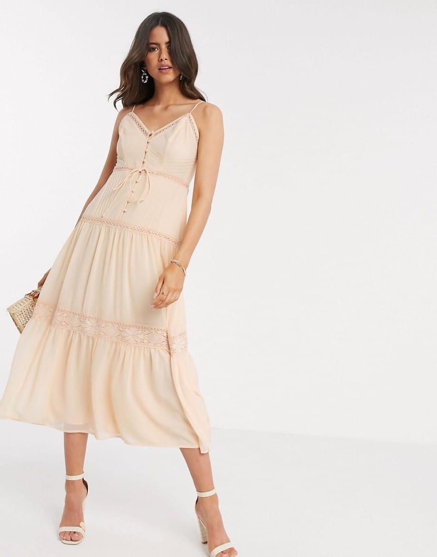 ASOS DESIGN Button Front Tiered Midi Cami Dress