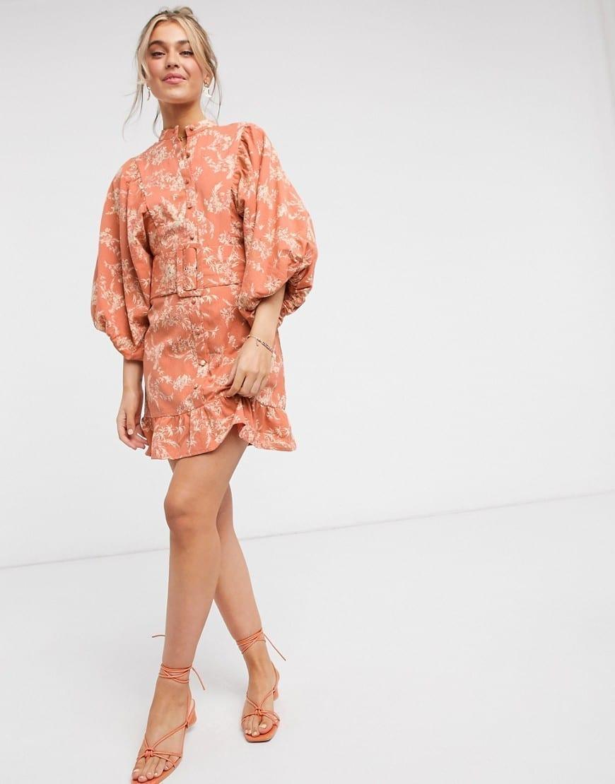 ASOS DESIGN Button Through Batwing Sleeves And Belt High Neck Cotton Mini Dress