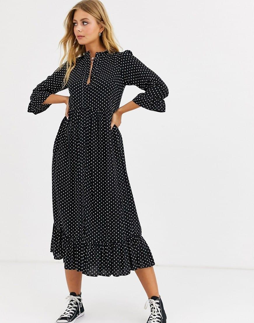 ASOS DESIGN Button Through Tiered Smock Maxi Dress