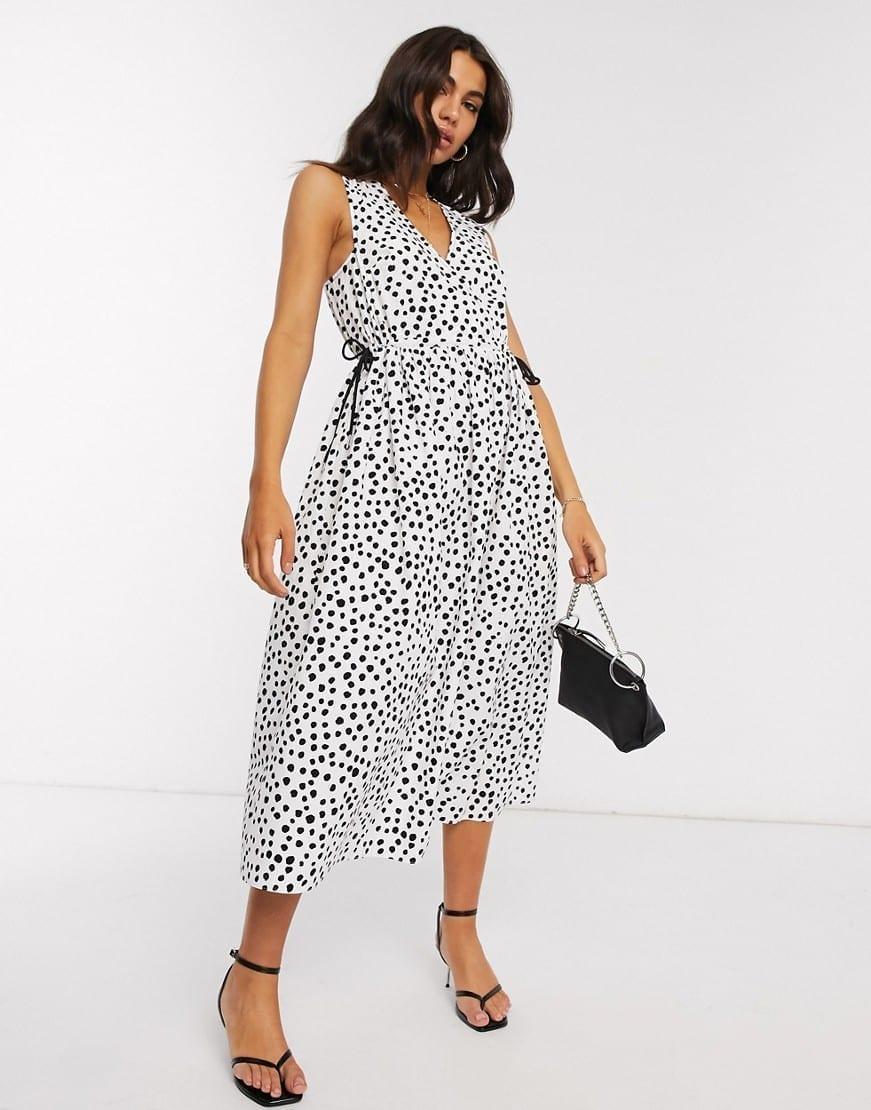 ASOS DESIGN Cotton Poplin Wrap Smock Midi Dress