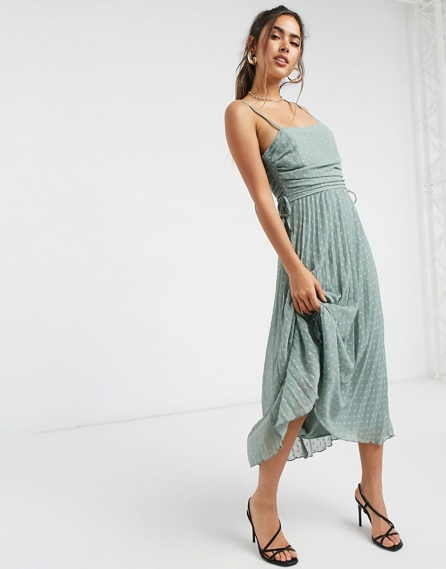 ASOS DESIGN Drawstring Details Pleated Dobby Midi Dress