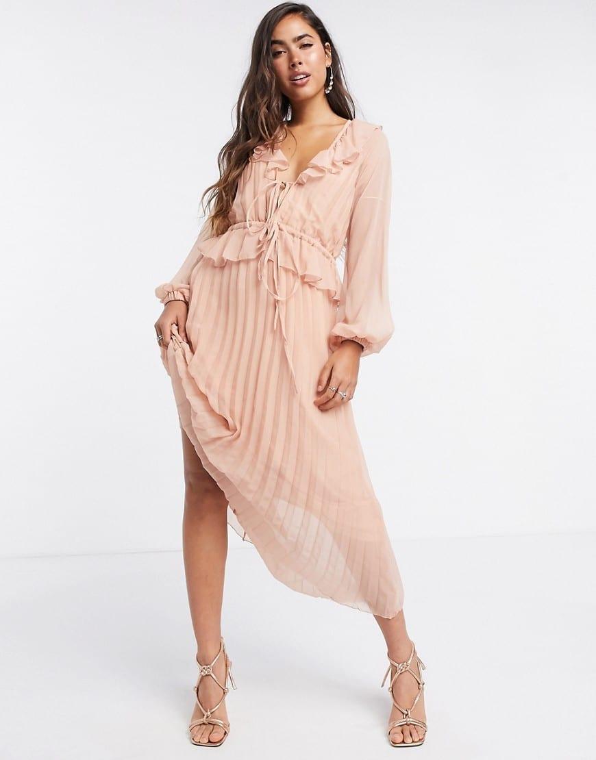 ASOS DESIGN Drawstring Waist Soft Pleated Midi Dress