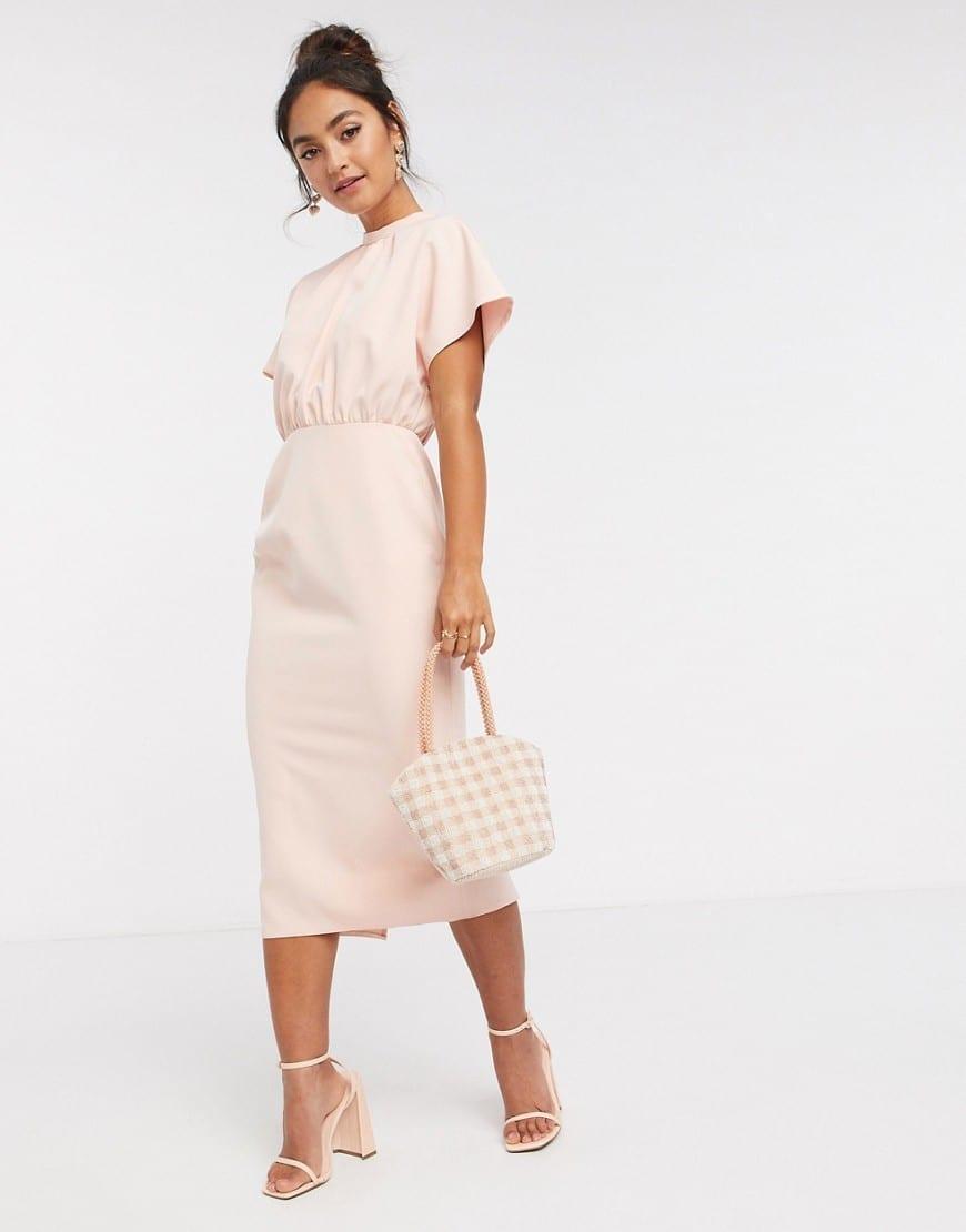 ASOS DESIGN Fluted Sleeve High Neck Midi Dress