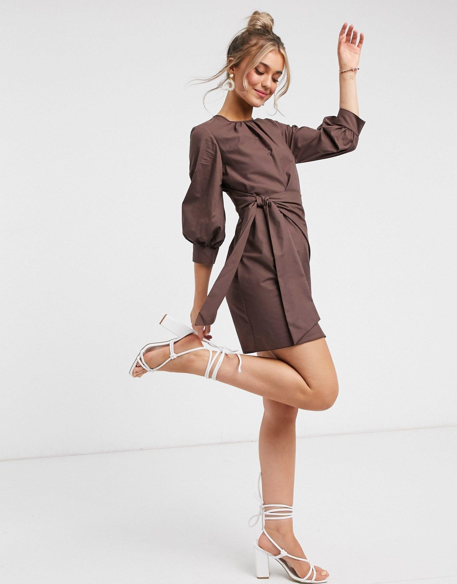 ASOS DESIGN Knot Front Mini Dress