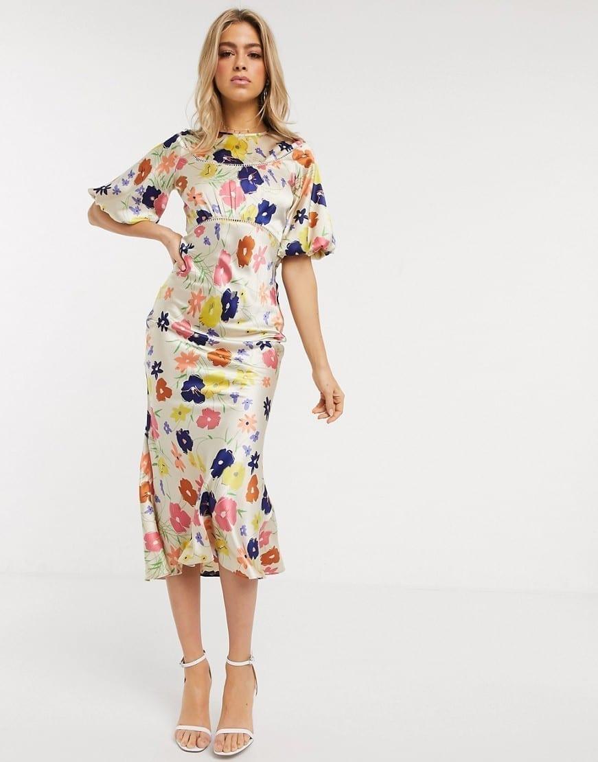ASOS DESIGN Lace Inserts Satin Maxi Tea Dress