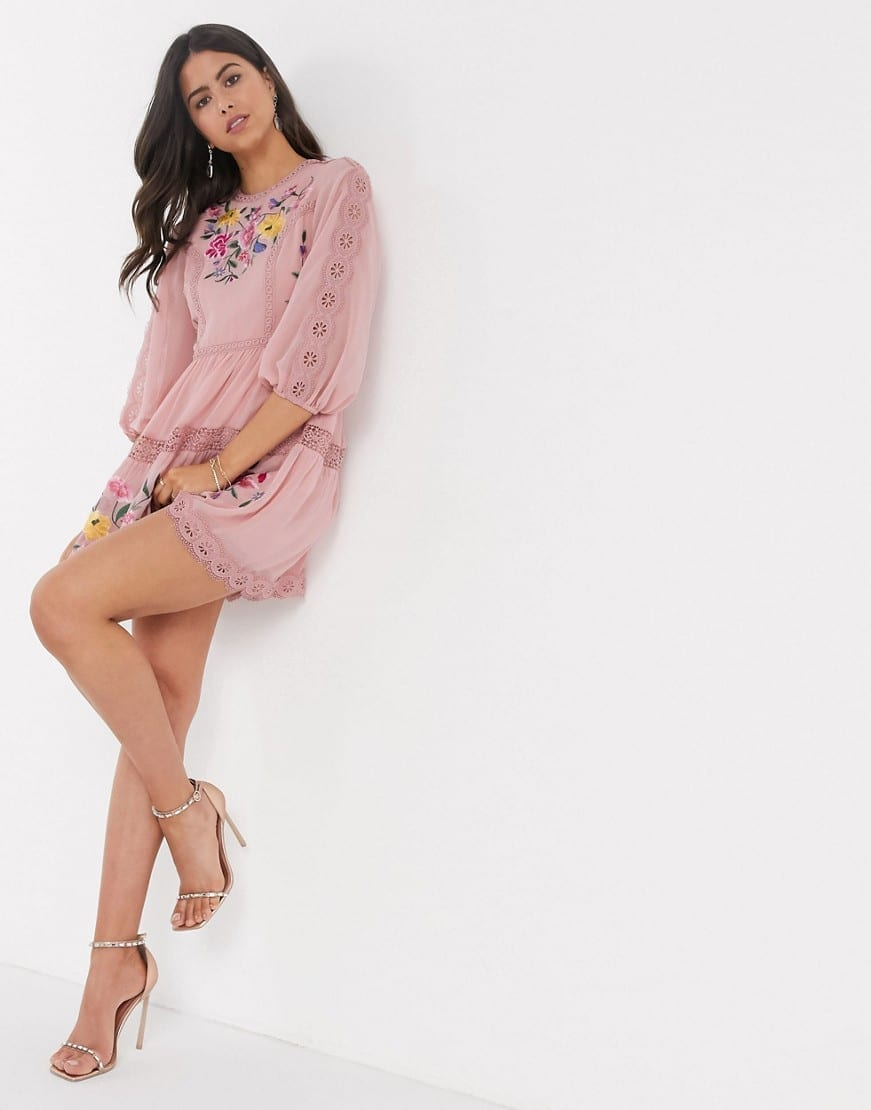 ASOS DESIGN Lace Trims And Puff Sleeves Embroidered Mini Skater Dress